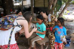 After finding ourselves one ragdoll short, Teacher Ais stopped one little girl's tears with a doll we'd bought earlier!